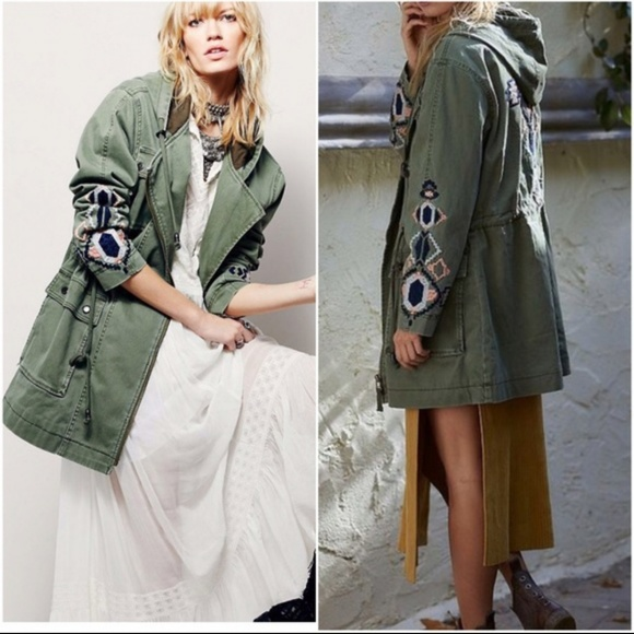 Free People Jackets & Blazers - Free People Embroidered Twill Parka